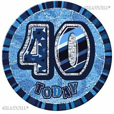 Age 40 Blue 40th Birthday Glitz Fancy Pin Buton Badge Unisex Party Decoration