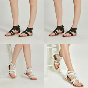 SheSole Ladies Shoes Flat Gladiator Ankle Sandals Zip Back Size 5-11 AU STOCK
