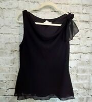 CDC Womens Sleeveless Blouse Top 10 Black Lined Cowl Neck Shoulder Tie Detail