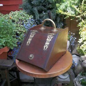 ANTIQUE MAHOGANY COAL BOX PURDONIUM LIFT OUT LINER & SHOVEL IN HOLDER ON  BACK