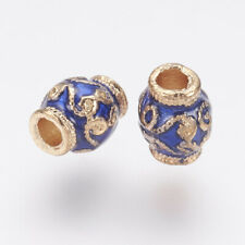 10 pcs Light Gold Plated Oval Blue Alloy Enamel Beads Crafts 7x6mm Hole 2.5mm