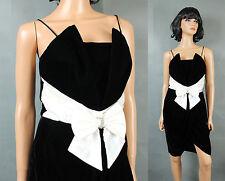 80s Prom Gown XS Vintage Black Velvet White Satin Sleeveless Mini Dress Short