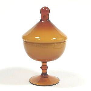 "7.6"" Empoli Cased Glass Lidded Candy Apothecary Jar Butterscotch Italian Vintage"
