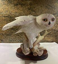 Franklin Mint The Snowy Owl By George Mcmonigle Porcelain Sculpture w/wood base