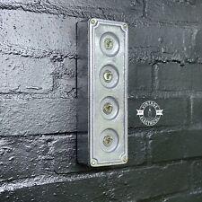 More details for 4 gang 2 way solid cast metal light switch industrial - bs en approved vintage