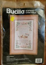 New 1990 Bucilla Stamped Cross Stitch Kit Watch Over Me Religious Sealed 40522