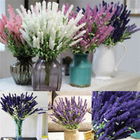 12 Heads Artificial Lavender Bouquet Fake Silk Flowers Wedding Party Home Decor