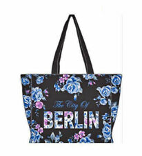 Robin Ruth City Shopper Borsa Berlino Flowers Nuovo Nero Blu Città Borsa Rose
