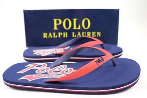 NWT RALPH LAUREN Size 11 Mens Navy Red POLO WHITLEBURY II Flip Flop Sandal