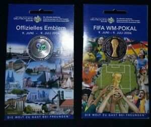 Two FIFA World Cup Soccer Coins Germany 2006 - New With Cards! Trophy & Emblem