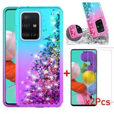 For Samsung Galaxy A51/A71 Case Liquid Glitter Bling Slim Cover+Tempered Glass