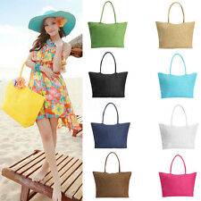 Fashion Women Girl Tote Shopping Beach Bag Straw Weave Shoulder Purse Handbag