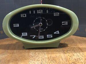 retro table clock avocado green quartz alarm