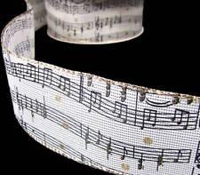 "5 Yds Music Musician Burlap Jute Like Wired Ribbon 2 1/2""W"
