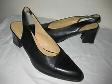 AUTHENTIC  COACH Slingbacks Leather Black Shoes Size 9.5 B Made In ITALY.