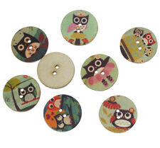 """Lot of 10 ASSORTED OWLS 2-hole Wooden Button 3/4"""" Scrapbook Doll Craft (4887)"""