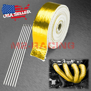 """Gold Exhaust Pipe Insulation Thermal Heat Wrap 2""""x50' Motorcycle Header"""