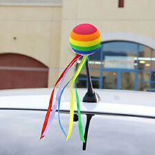 Cute Car Antenna Toppers Rainbow Colored Ribbon Antenna Balls Aerial Ball