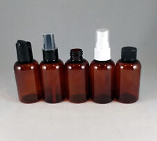 Amber PET 2 oz Boston Round Plastic Bottles- Pump Spray, Disc Top Dispensing Cap