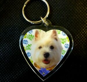 West Highland White Terrier Keyring Key Ring heart Westie Gift Xmas Mothers Day