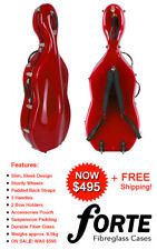 *End of Line* Forte Slim Fibreglass Cello Case Red for 4/4 Full Size Cello