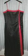 Kasia Debut II 2 Size 22W 2X Black Hot Pink Satin Formal Prom Spag Strap Dress