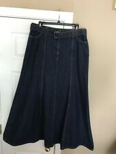 LEL Long Elegant Legs Dark Blue Denim Jean SKIRT size 12 pockets Belt