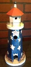 Nautical Lighthouse Wood Birdhouse Decorative Patriotic Red White Blue Stars