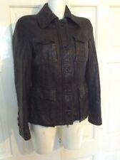 Ladies Hobbs Brown Leather Biker Style Bomber Jacket Uk 8