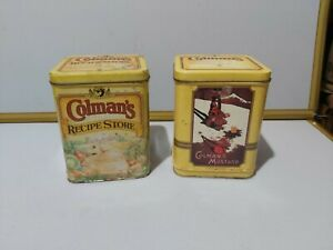 Set 2 Large Vintage Colmans Mustard Tin Advertising Canisters Caddies Collectabl