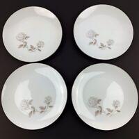 "Vtg Set Of 4 NORITAKE China Rosay Rose 6216 Salad Plates 8 1/4"" Platinum Trim"