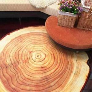 3D Log Color Round Wood Annual Ring Carpet Home Decor Floor Holder Mat Pads CH