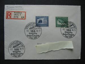 Graf Zeppelin 100. Geburtstag 1938 - 2 Briefmarken 3 Sonderstempel Einschreiben