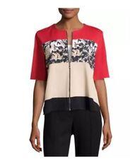 Ming Wang Knit Top Jacket L Large Full Zip Short Sleeve Color Block $315 New