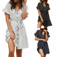 Womens Ruffles Polka Dot Mini Dress Ladies V Neck Buttons Casual Holiday Dress