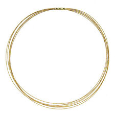 "18 KT Yellow Gold 7 Strand Gold Cable Wire Necklace Bayonet Clasp NEW 16"" NEW"