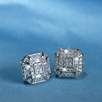 18k white gold gf made with SWAROVSKI crystal square pattern stud earrings 11mm