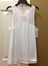 NWT Michael Kors WHITE Mesh Knit Panel Top Sz M $59.50