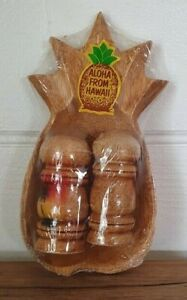 Vintage pinapple bowl salt & pepper shakers Hawaii wood tiki kitsch palm  AYLBT