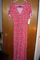 NWT French Connection Womens Cerisier Red Floral Surplice Casual Dress 8 $158