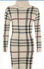 New Ladies Polo Neck Tartan Knitted Midi Women Long Sleeve Bodycon Jumper Dress