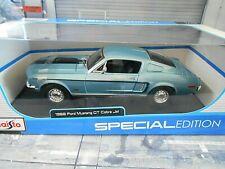 FORD Mustang Coupe Fastback Cobra Jet 1968 blau blue V8 Muscle Car Maisto 1:18
