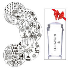 Buy 5 Get 1 Gift Born Pretty Round Nail Stamping Plates Christmas with Stamper
