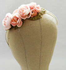 pink Floral Flower headpiece bridal hair wedding Hairpiece crown Garland rose