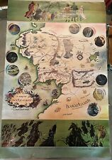 Rare Pauline Baynes map of middle earth 1970 poster 1st Trade Printing Allen/unw