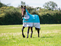 Shires Tempest Original Waterproof Horse/Pony Fly Rug, UV Protection, in Teal.