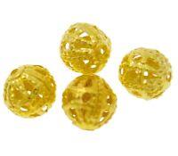 100 Filigran Perlen 8mm Rund Gold Metallperlen Zwischenteile Spacer BEST M539