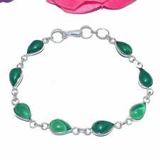 Silver Plated Bracelet Bb98 Green Dieclo Glass Gemstones