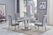 Apollo Arturo Grey MARBLE Round Dining Table 130 cm & Black or Grey Chairs
