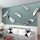 Creative 8pcs Feather Designed 3D Mirror Craft Home Decor Wall Stickers